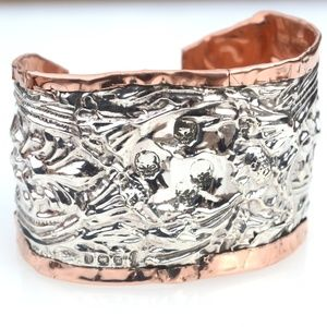 Skull Antique Sterling Silver Copper Cuff Bracelet